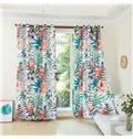 3D Flamingo Pattern Custom Cotton and Linen Green Grommet Top Curtain with Sheer