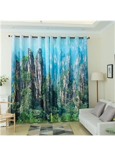 3D Landscape Pattern Custom Cotton and Linen Green Grommet Top Curtain with Sheer