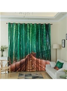 3D Bamboo Pattern Custom Cotton and Linen Green Grommet Top Curtain with Sheer
