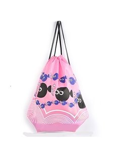 Durable Water-proof Black Fish Pattern for Man&Woman Pink Backpack