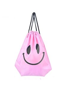 Durable Water-proof Optimistic Smile Pattern for Man&Woman Pink Backpack