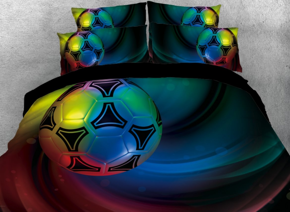 Vivilinen Colorful Soccer Printed 4-Piece 3D Bedding Sets/Duvet Covers