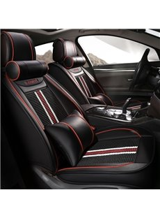 Stripe Pattern Sports Style Leather Universal Five Car Seat Covers