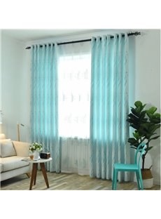 Elegant Light Blue with Flowers Pattern 2 Pieces Decorative and Blackout Living Room Curtain