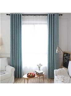 Simple Vine Pattern Blue Modern Home Decoration Grommet Top Curtain