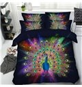 Multifarious Peacock Printed 4-Piece Black 3D Bedding Sets/Duvet Covers