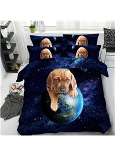 3D Adorable Dog Rolls the Earth Printed 4-Piece Bedding Sets/Duvet Covers