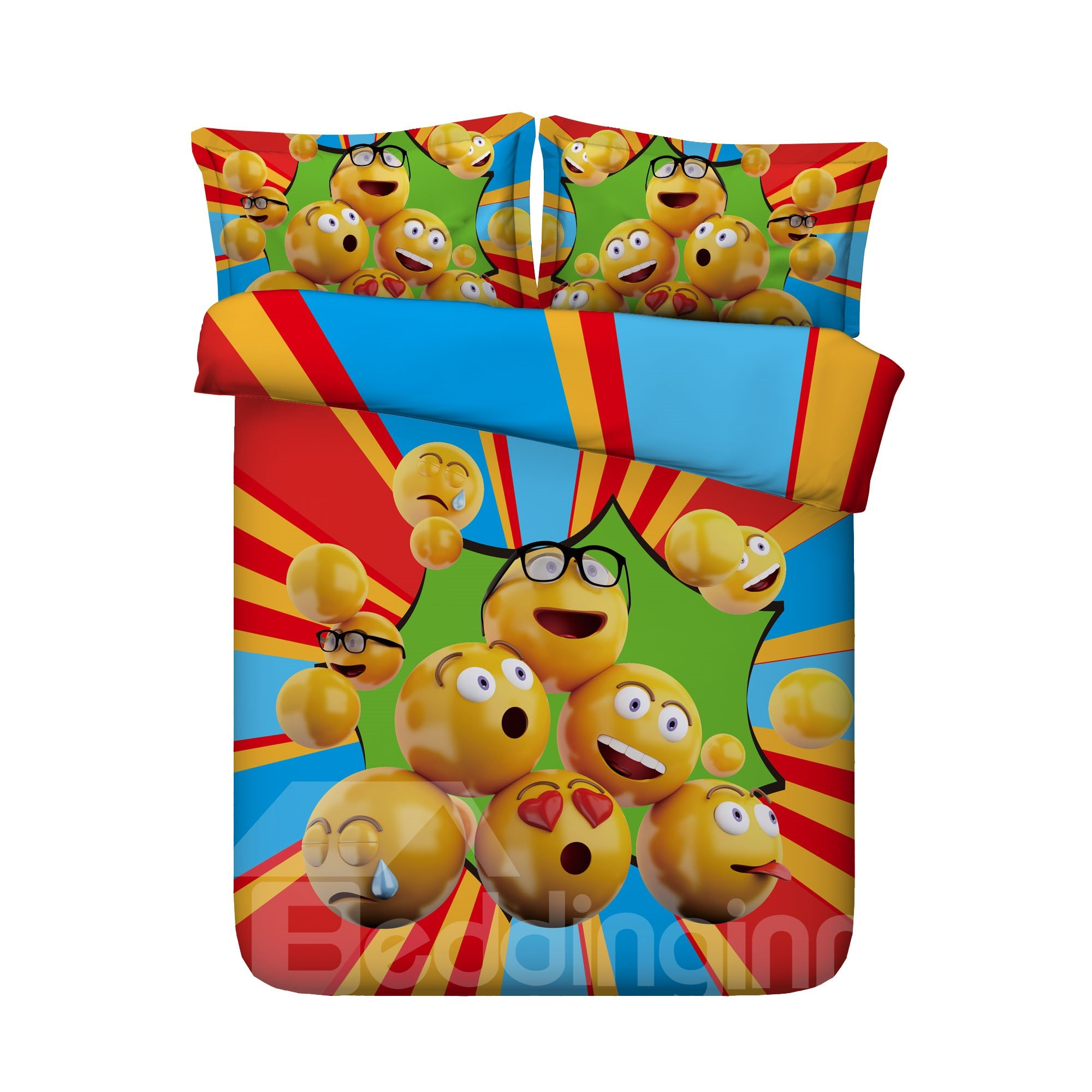 65 Colorful Funny Peas Printed 4 Piece Bedding Sets Duvet Covers