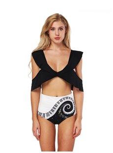 Cross Bra Pinao Key Pattern Panties Summer Bikini 3D Bathing Suit Swimsuits