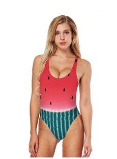Watermelon Pulp Pattern Sexy Backless Costume Summer Bikini 3D Bathing Suit Swimsuits