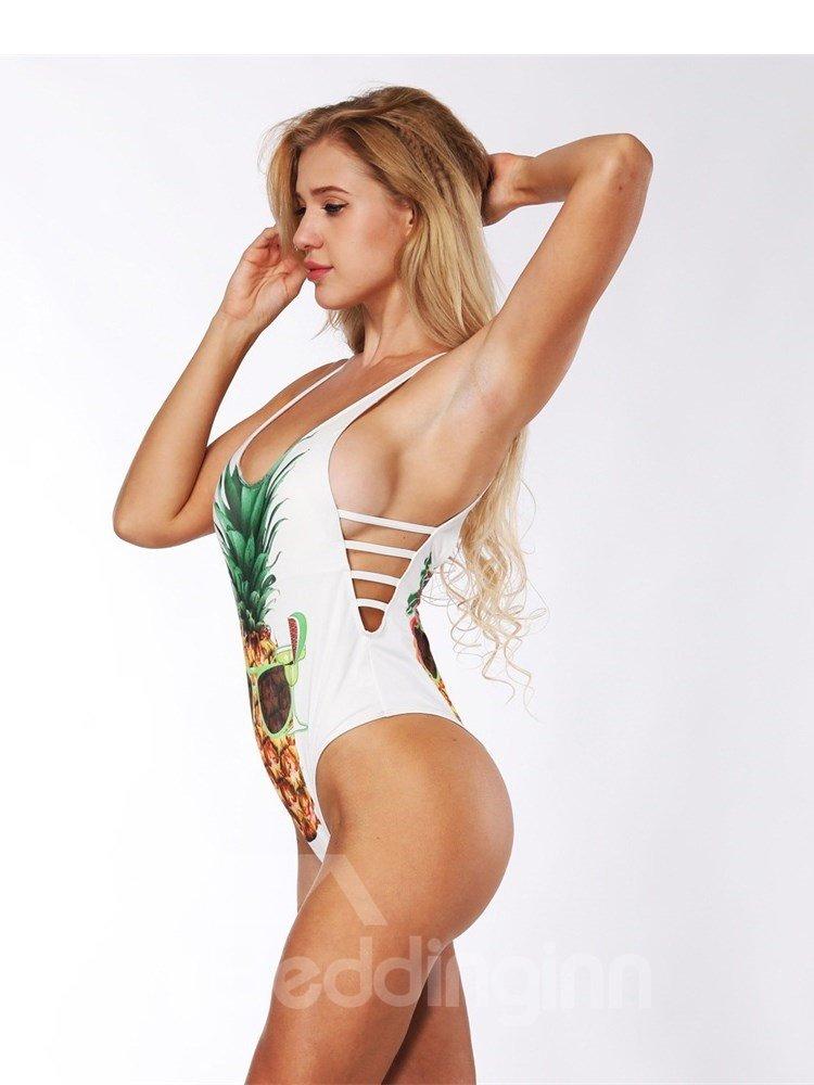Pineapple Pattern Sexy Backless Costume Summer Bikini 3D Bathing Suit Swimsuits