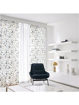 Decoration Fresh Style Circle and Rectangle Pattern Custom Polyester Grommet Top Curtain