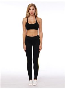 Absorbent 3D Women Bright Color Stripe Pattern Yoga Pants Polyester