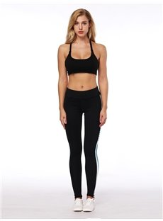 Close-fitting 3D Women Color Blocking Stripe Pattern Yoga Pants Polyester