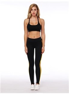 3D Women Color Blocking Stripe Pattern Running Pants Polyester