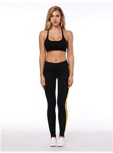 3D Women Color Blocking Stripe Pattern Running Pants Polyester