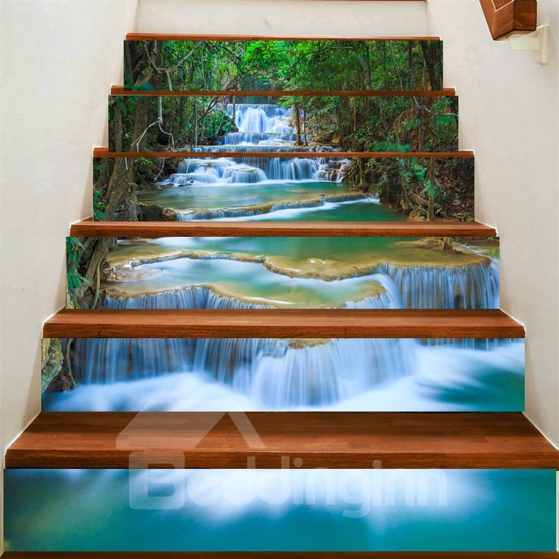 3D Waterfall and Tree 6-Piece PVC Waterproof Eco-friendly Self-Adhesive Stair Mural
