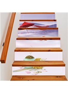 3D Incense Burner and Red Umbrella 6-Piece PVC Waterproof Eco-friendly Self-Adhesive Stair Mural