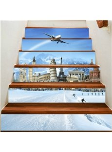 3D Plane Crossing Snow Mountain 6-Piece PVC Waterproof Eco-friendly Self-Adhesive Stair Mural