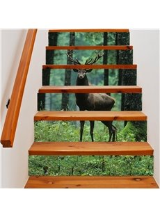 3D Standing Deer 6-Piece PVC Waterproof Eco-friendly Self-Adhesive Stair Mural