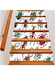 3D Colorful Reptile 6-Piece PVC Waterproof Eco-friendly Self-Adhesive Stair Mural