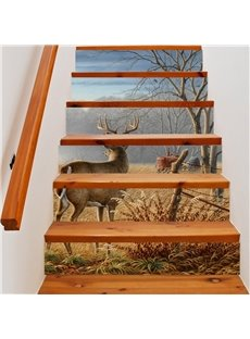 3D Deer Facing Away with Tree 6-Piece PVC Waterproof Eco-friendly Self-Adhesive Stair Mural