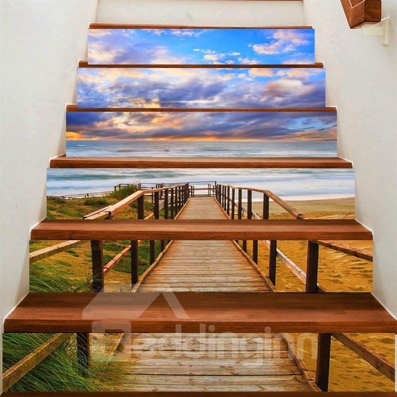 3D Blue Sky and Bridge 6-Piece PVC Waterproof Eco-friendly Self-Adhesive Stair Mural