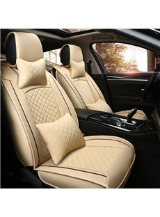 Fresh Color Luxury Grid Style Design Durable PU Material Universal Five Car Seat Cover