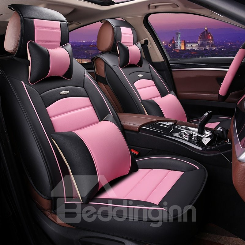 40 Girly Contrast Color Design Durable PU Material Universal Five Car Seat Cover