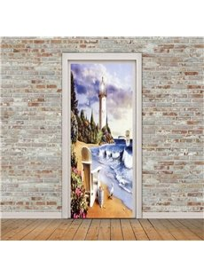 30×79in Seaside Architecture PVC Environmental and Waterproof 3D Door Mural