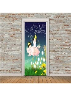 30×79in Cartoon Girl on the Grass PVC Environmental and Waterproof 3D Door Mural