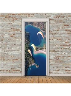 30×79in Skydiving People Under Blue Sky PVC Environmental and Waterproof 3D Door Mural