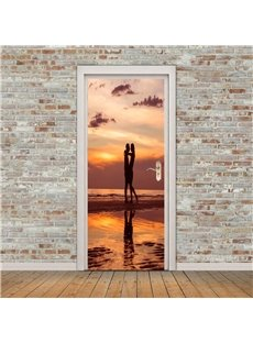 30×79in Lovers in the Sunset PVC Environmental and Waterproof 3D Door Mural