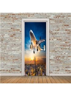 30×79in Airplane Flies over BuildingS PVC Environmental and Waterproof 3D Door Mural