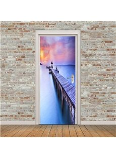 30×79in Bridge Leading to the River PVC Environmental and Waterproof 3D Door Mural