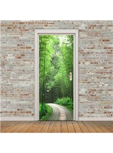 30×79in Bamboo Forest Trail PVC Environmental and Waterproof 3D Door Mural