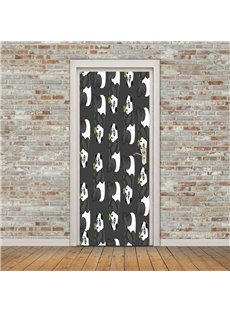 30×79in Cute Panda PVC Environmental and Waterproof 3D Door Mural