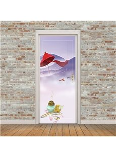 30×79in Red Umbrella and Incense Burner PVC Environmental and Waterproof 3D Door Mural