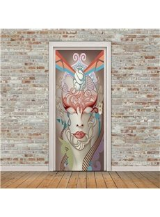30×79in Quirky Man Face PVC Environmental and Waterproof 3D Door Mural