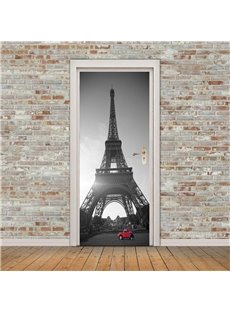 30×79in Eiffel Tower with Red Car PVC Environmental and Waterproof 3D Door Mural