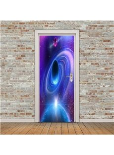 30×79in Star Purple Galaxy PVC Environmental and Waterproof 3D Door Mural