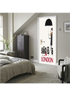 30×79in Cartoon Man with Umbrella and Words PVC Environmental and Waterproof 3D Door Mural