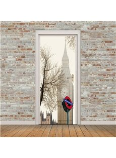 30×79in Big Ben with Lonely Tree PVC Environmental and Waterproof 3D Door Mural