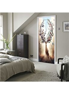 30×79in Antlers with Flowers PVC Environmental and Waterproof 3D Door Mural