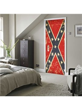 30×79in Red Door with Stars PVC Environmental and Waterproof 3D Door Mural