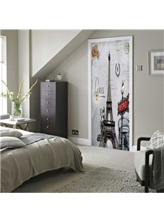 30×79in Eiffel Tower with Signpost PVC Environmental and Waterproof 3D Door Mural