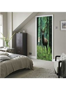 30×79in Black Deer in Forest PVC Environmental and Waterproof 3D Door Mural