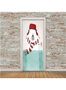 30×79in Cartoon Bear with Hat PVC Environmental and Waterproof 3D Door Mural