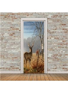 30×79in Forest Deer Facing Back PVC Environmental and Waterproof 3D Door Mural