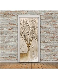 30×79in Antler Branches with Birds PVC Environmental and Waterproof 3D Door Mural